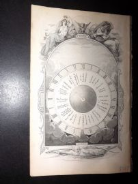 Goldsmith C1860 Print. Intersting Volvelle Frontispiece. Astronomy, World Time